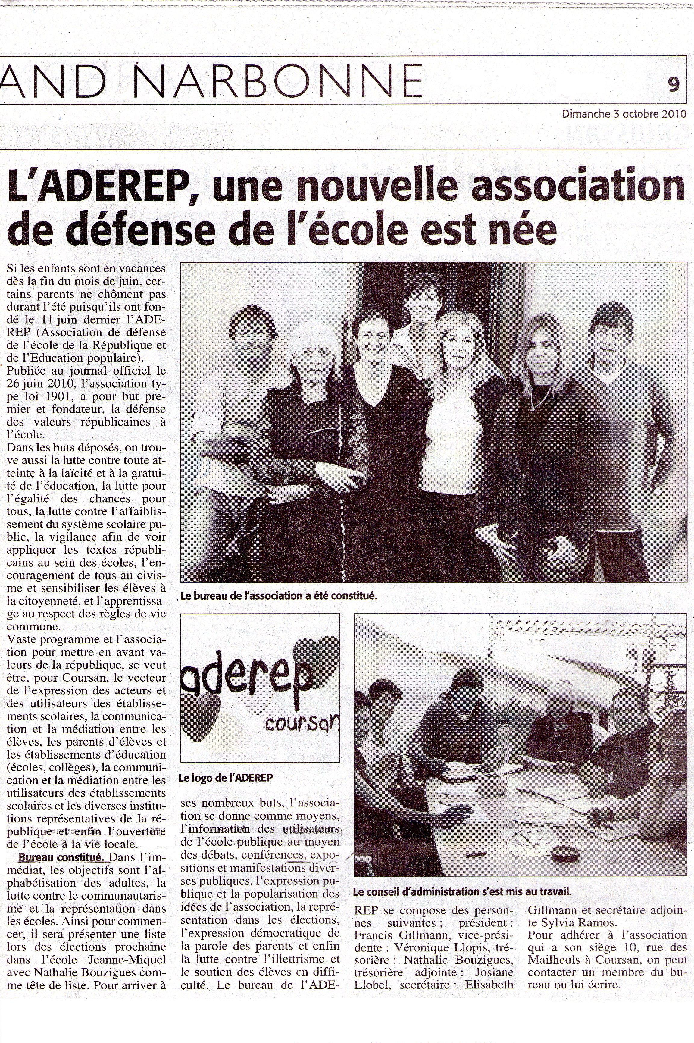 Le Midi Libre du 3 octobre 2010