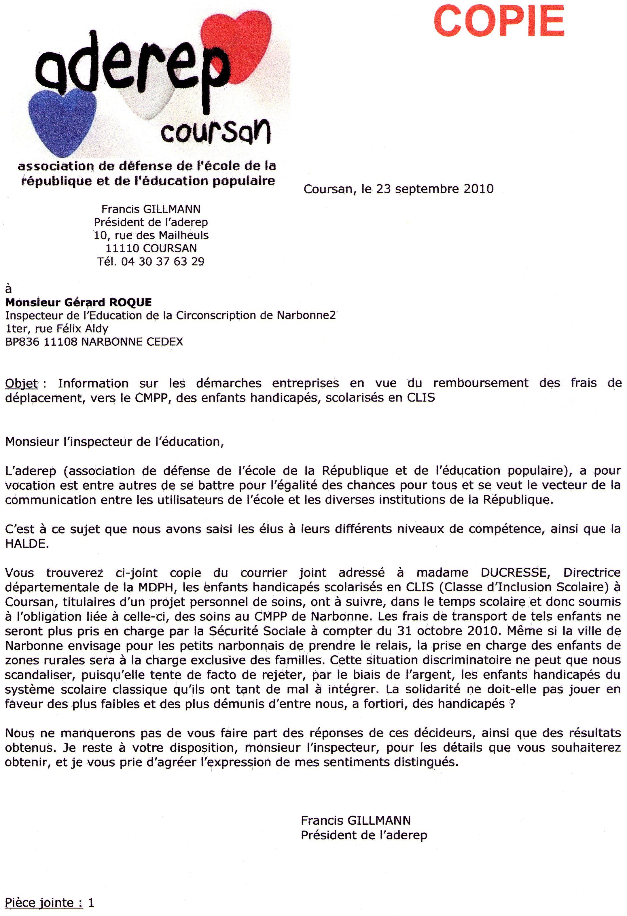 23.09.10 Lettre accompagnement dossier CLIS Copie