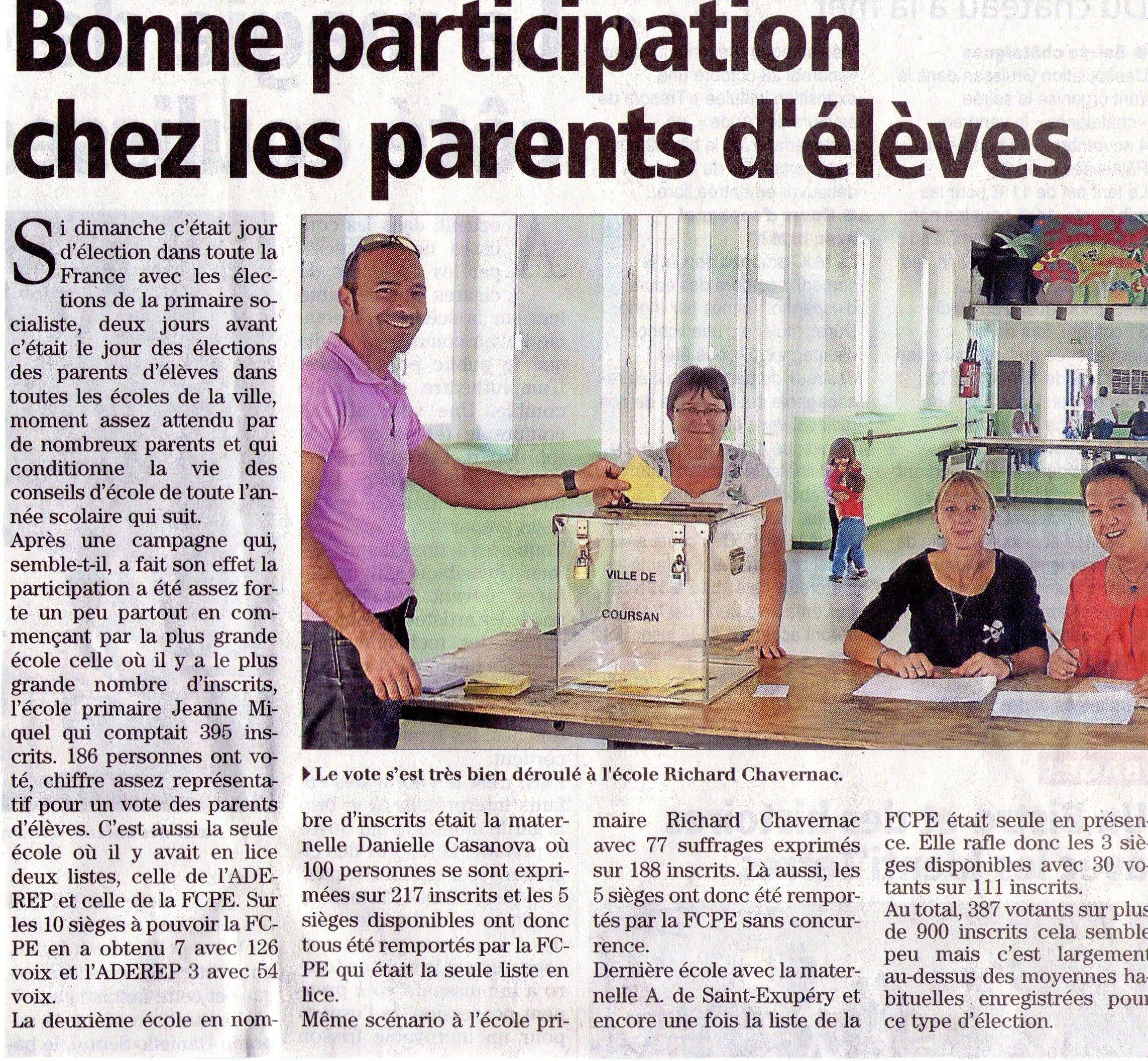 18.10.11 Bonne participation chez les parents d'élèves