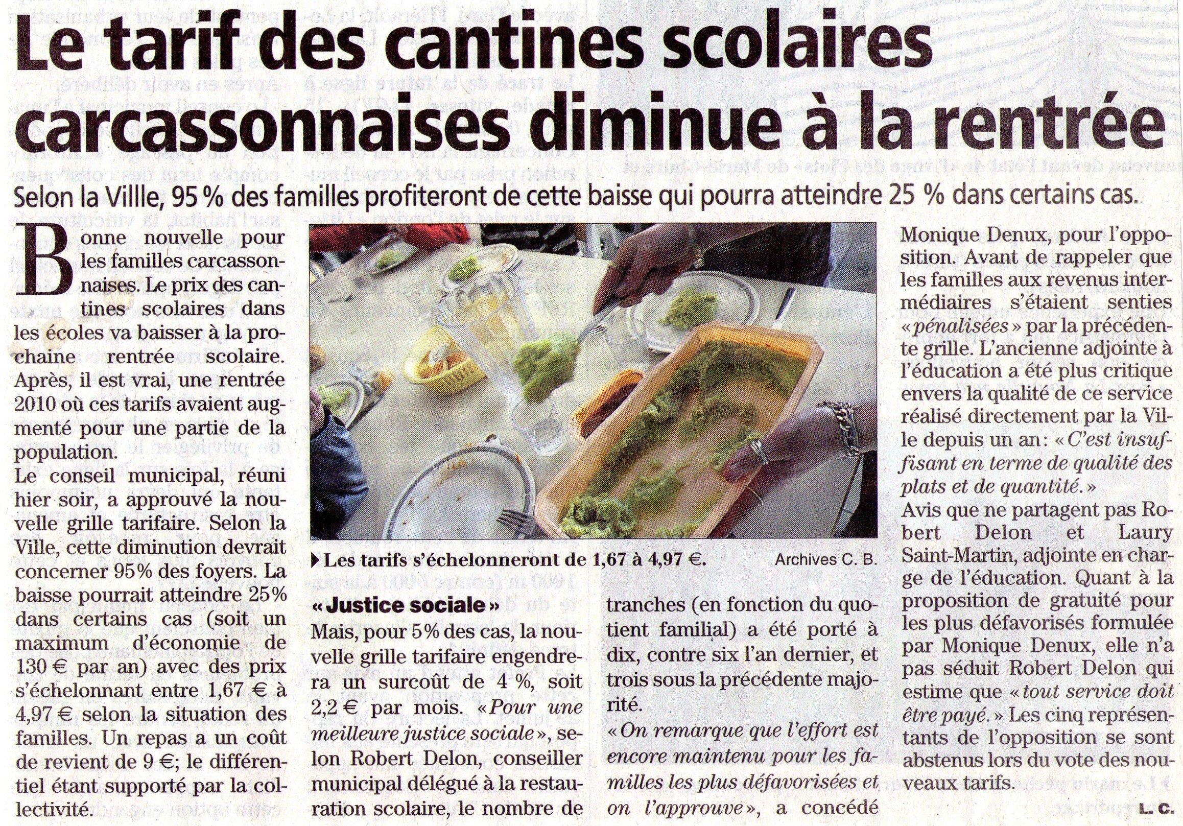 Baisse du prix de la cantine à Carcassonne